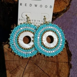 Jewelry - Light Blue Natural Shell Seed Bead Earrings